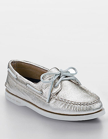 silver sperry topsiders